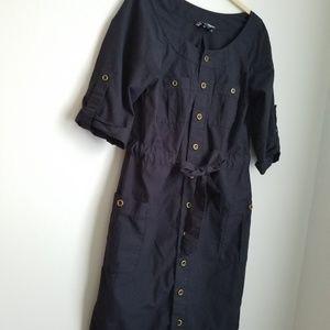 LOFT Dresses - LOFT navy blue shirt dress brass buttons